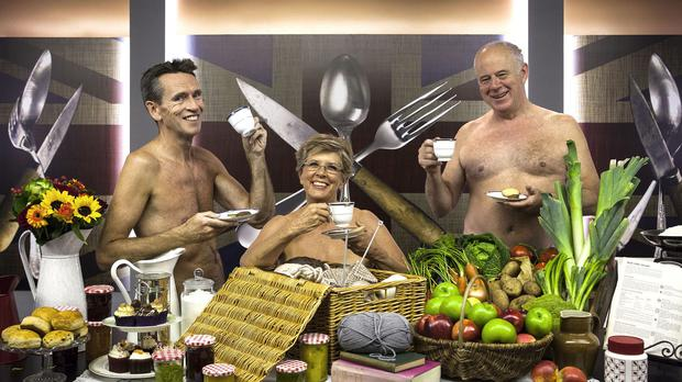 Great British Menu judges Oliver Peyton, Prue Leith and Matthew Fort pay homage to the WI Calendar Girls (BBC/Optomen Television Ltd/Andrew Hayes-Watkins/PA Wire)