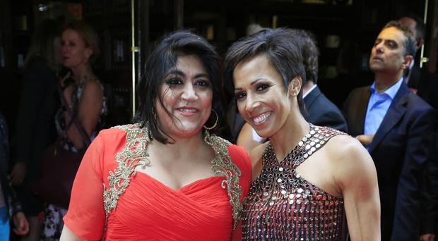 Dame Kelly Holmes (right) and Gurinder Chadha attending the opening night of Bend It Like Beckham The Musical at the Phoenix Theatre, London