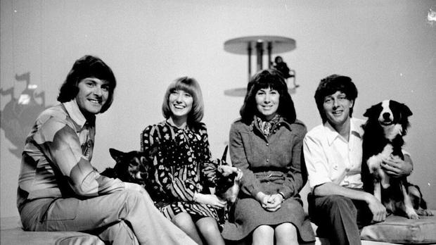John Noakes (far right with dog Shep) with co-presenters Peter Purves, Lesley Judd and Valerie Singleton
