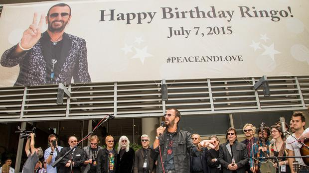 Ringo Starr attends his 75th birthday celebration at Capitol Records in Los Angeles (Paul A Hebert/Invision/AP)