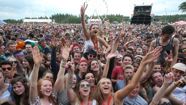 Festival goers at the T in the Park music festival at Strathallan in Perthshire