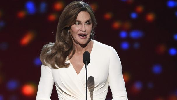 Caitlyn Jenner accepts the Arthur Ashe award for courage at the ESPY ceremony (Invision/AP)