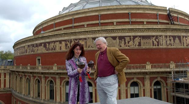 Sir David Attenborough pictured with percussionist Evelyn Glennie while promoting the BBC Proms