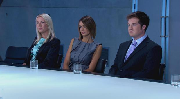 Stuart Baggs pictured with fellow contestants in The Apprentice boardroom