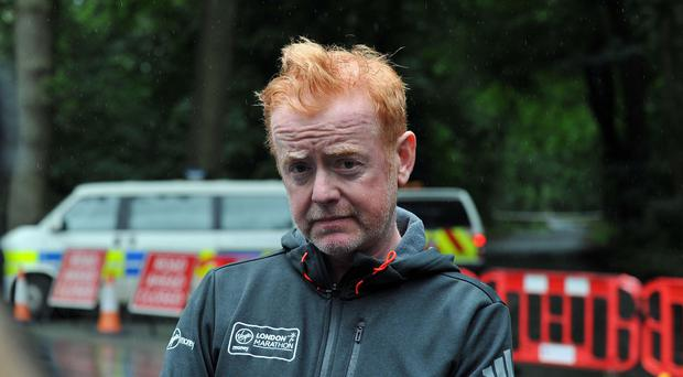Chris Evans at Oulton Park, Cheshire, after pilot Kevin Whyman was killed