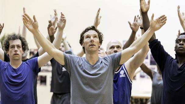 Benedict Cumberbatch with the cast of Hamlet in rehearsal