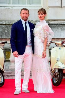 Guy Ritchie and wife Jacqui Ainsley attending the UK premiere of The Man From Uncle at Somerset House, London