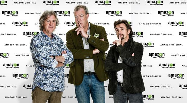 From left, James May, Jeremy Clarkson and Richard Hammond, who have signed a deal for a new motoring show with Amazon (Amazon/PA)