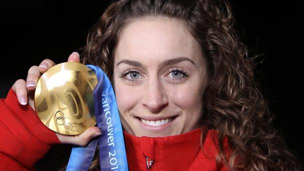 Amy Williams with her gold medal from the 2010 Winter Olympics