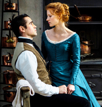 Colin Farrell and Jessica Chastain play valet John and aristocrat Miss Julie in the new movie