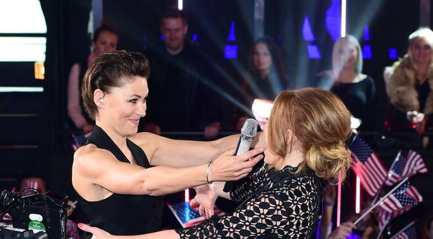 Presenter Emma Willis (left) greets Natasha Hamilton as she arrives at the start of the latest series of Celebrity Big Brother at Elstree Studios, Borehamwood.
