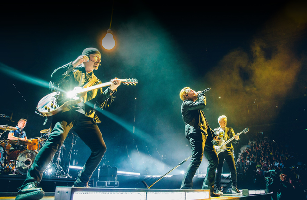 U2 on stage in Turin during their current tour