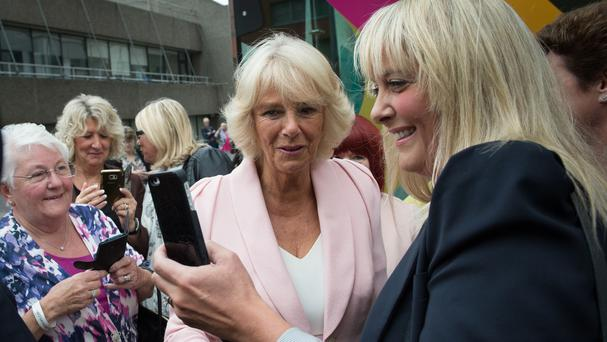 The Duchess of Cornwall meets well-wishers as she leaves the ITV studios in London