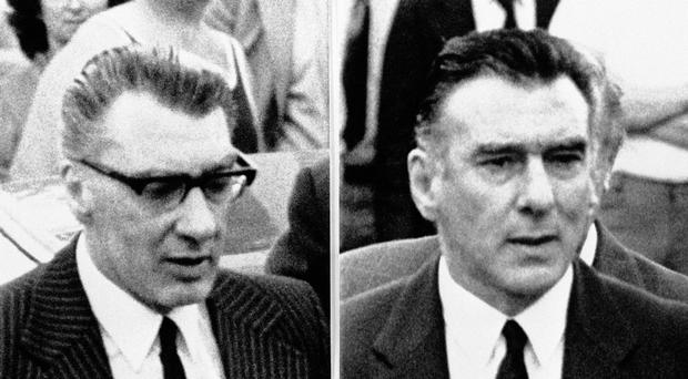 The film tells the story of Kray twins Ronnie (left) and Reggie