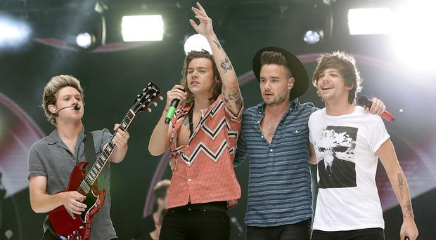 Left to right: Niall Horan, Harry Styles, Liam Payne and Louis Tomlinson of One Direction are playing the Roundhouse in Camden during the Apple Music Festival