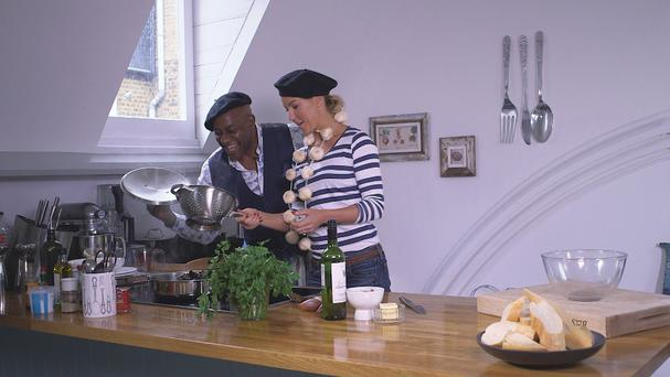 Strictly Come Dancing's Ainsley Harriott cooks up a moules Mariniere for dance partner Natalie Lowe (BBC/PA Wire)