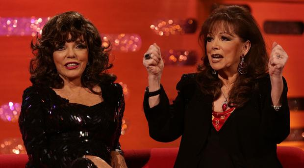 Joan and Jackie Collins during the filming of the 2013 New Year's Eve Graham Norton Show