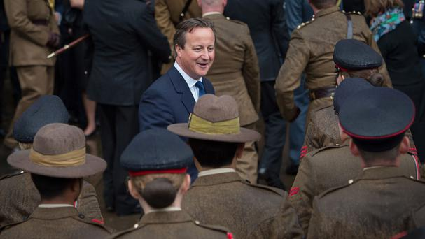 David Cameron met soldiers, sailors and airmen who served in west Africa during the Ebola epidemic