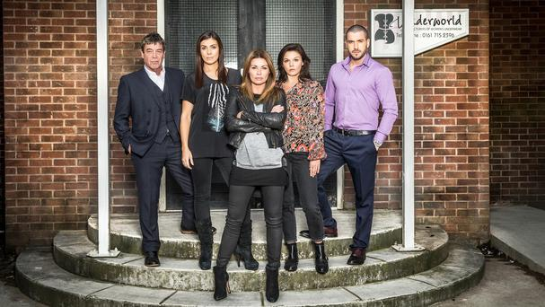 Richard Hawley, left, and Faye Brookes, second right, join Kym Marsh, Alison King and Shayne Ward in Coronation Street's Connor family (ITV/PA)