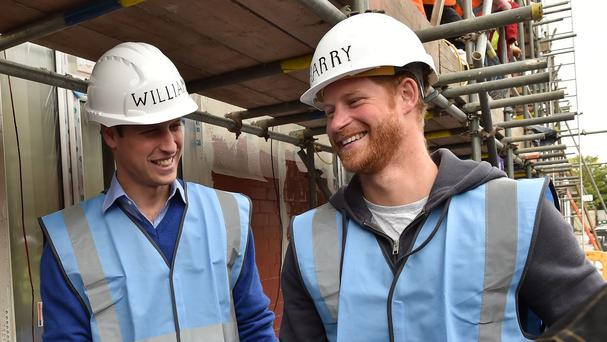 William and Harry helped out on DIY SOS The Big Build: Veteran's Special in Manchester