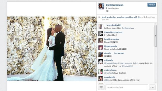 The Instagram feed of Kim Kardashian whose post from her wedding to rapper Kanye West was the most popular picture on Instagram in 2014, with 2.4 million likes
