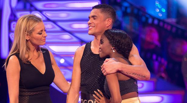 Anthony Ogogo and Oti Mabuse were the latest couple to be voted off Strictly Come Dancing (BBC/PA)