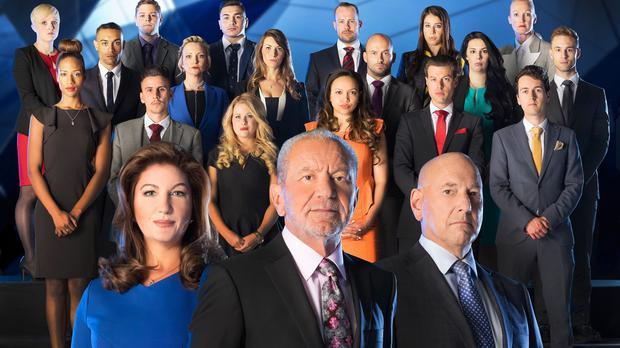(Front, left to right) Karren Brady, Lord Sugar and Claude Littner in front of the candidates for this year's BBC1 programme, The Apprentice