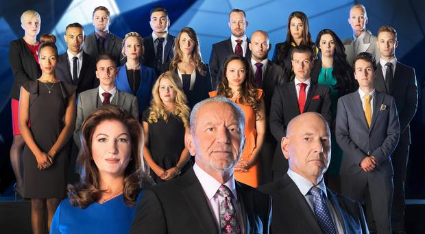 Karren Brady, Lord Sugar and Claude Littner in front of the candidates for this year's The Apprentice