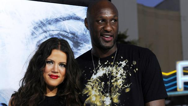 Lamar Odom with Khloe Kardashian in Los Angeles. (AP)