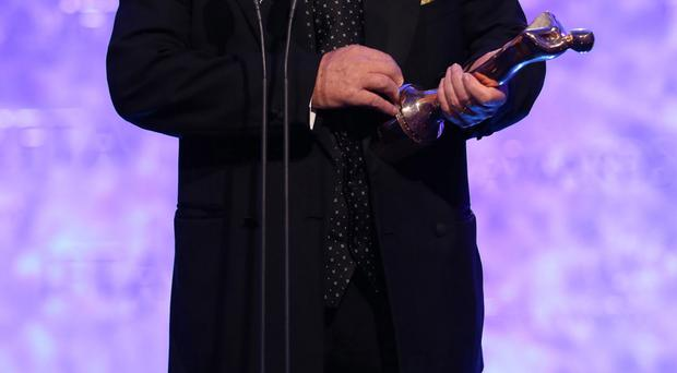 Brendan O'Carroll on stage af at the IFTA Gala Television Awards at the Double Tree by Hilton Hotel, Dublin, where he received a lifetime achievement award from Gay Byrne.
