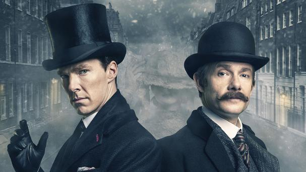 Benedict Cumberbatch, left, and Martin Freeman in period costume for the Sherlock Special, The Abominable Bride (BBC/PA)