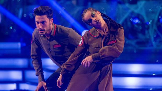Giovanni Pernice and Georgia May Foote during rehearsal for Strictly Come Dancing (BBC/PA)
