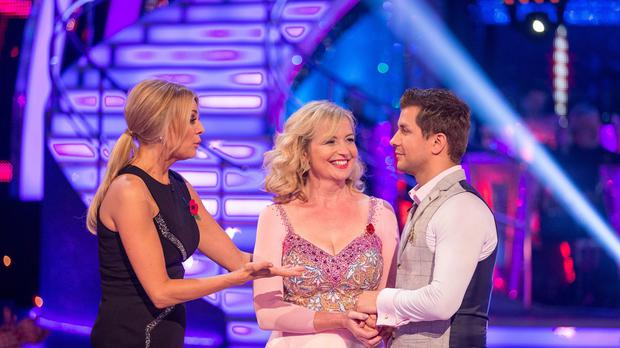 Presenter Tess Daly (left) Carol Kirkwood and Pasha Kovalev during BBC One's Strictly Come Dancing results show.