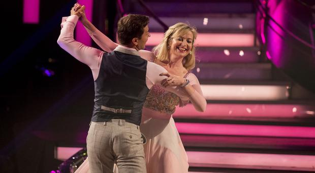 Carol Kirkwood, who is out of Strictly Come Dancing, and her dance partner Pasha Kovalev (BBC/PA)