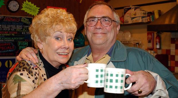 Liz Dawn with the late Bill Tarmey as Vera and Jack Duckworth in Coronation Street (Granada TV/PA)