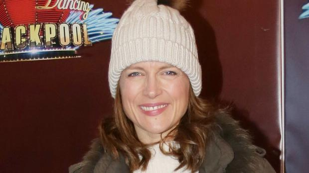 Katie Derham arrives at the Tower Ballroom in Blackpool