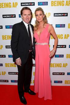 AP McCoy with his wife Chanelle arriving at the Being AP gala screening at Millbank Tower, London last night