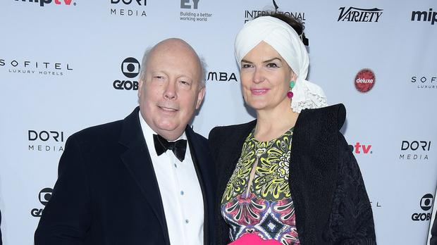Julian Fellowes and Emma Joy Kitchener attend the Emmy Awards in New York (AP)