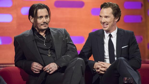 Johnny Depp and Benedict Cumberbatch on the sofa for the Graham Norton Show