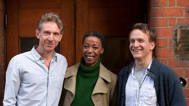 Jamie Parker, Noma Dumezweni and Paul Thornley who will play Harry, Hermione and Ron in the Harry Potter And The Cursed Child stage play