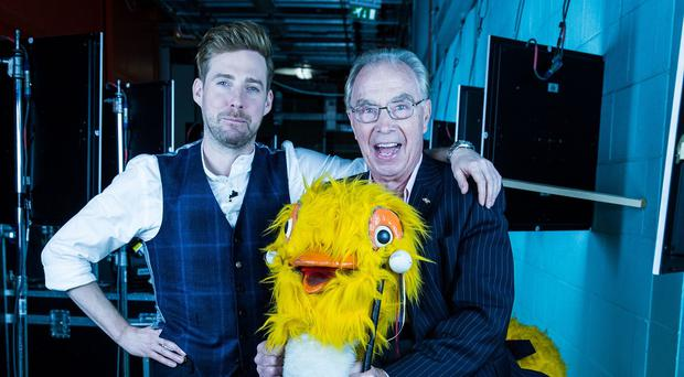 Crackerjack star Bernie Clifton with Ricky Wilson after his audition for BBC1's The Voice (Guy Levy/Wall To Wall/BBC/PA)
