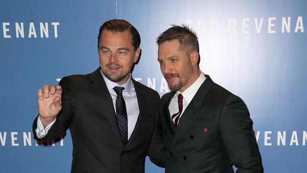 Leonardo DiCaprio and Tom Hardy at The Revenant premiere