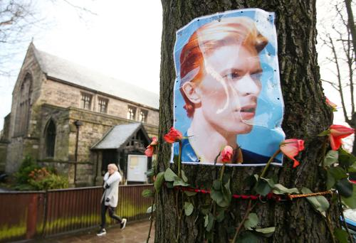 A tribute to David Bowie on the Lisburn Road in Belfast. The singer succumbed to cancer on Sunday
