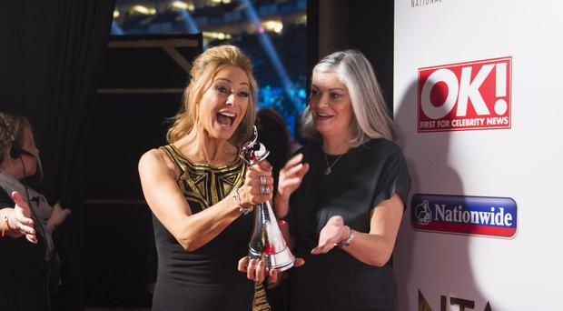 Tess Daly with the award for Best Talent Show Strictly Come Dancing.