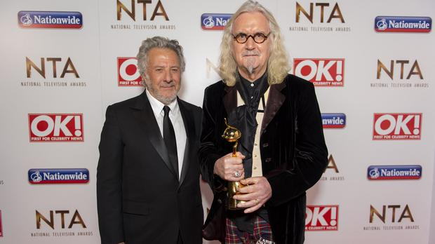 Dustin Hoffman presented Billy Connolly with the special recognition award at the Nation Television Awards