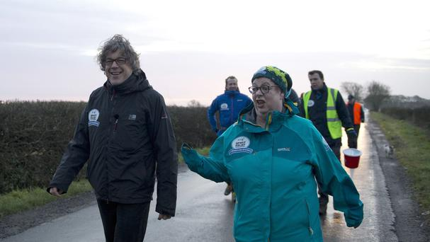 Jo Brand was joined by Alan Davies for the second day of her 150 mile walk from Hull to Liverpool. (Comic Relief / PA Wire)