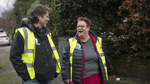 Jo Brand arrives in Liverpool with John Bishop