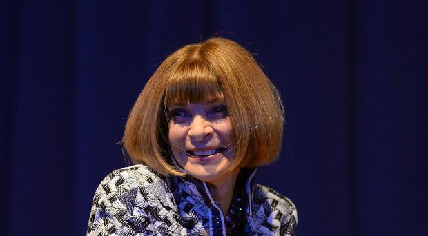 Editor-in-chief of American Vogue Anna Wintour takes part in a question and answer session during the Northern Youth Fashion Show at the University of York