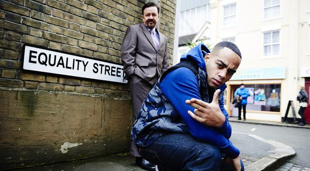 Ricky Gervais as David Brent and Doc Brown as rapper Dom Johnson performed the Comic Relief song Equality Street