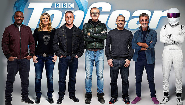 Gear change: from left, the new show's line-up consists of Rory Reid, Sabine Schmitz, Matt LeBlanc, Chris Evans, Chris Harris, Eddie Jordan and the famously anonymous The Stig